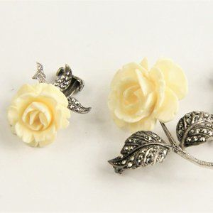 Jewelry - VINTAGE GERMAN STERLING & MARCASITE FLOWER SET